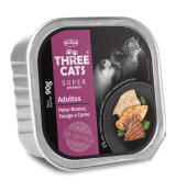 PATE THREE CATS ADULTS -  WHITE FISH, CHICKEN AND MEAT FLAVOR